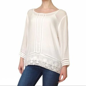 White High-Low Lace Trimmed Blouse